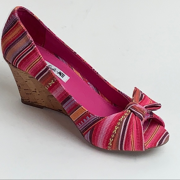 American Eagle Outfitters Shoes - American Eagle Striped Peep Toe Cork Wedges (F1)